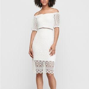 NEW EXPRESS White Floral Crochet Short Puff Sleeve Off Shoulder Midi Dress sz S